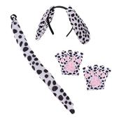 Stobok tai và đuôi trang phục cún con dalmatian tai đuôi găng tay halloween động vật cosplay trang phục cho trẻ em trẻ em người lớn