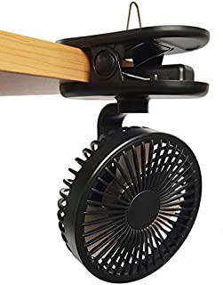 VENKIM クリップ式扇風機 小型 USB卓上扇風機 携帯 壁掛け 吊り下げ可能 ミニ扇風機 (ブラック)