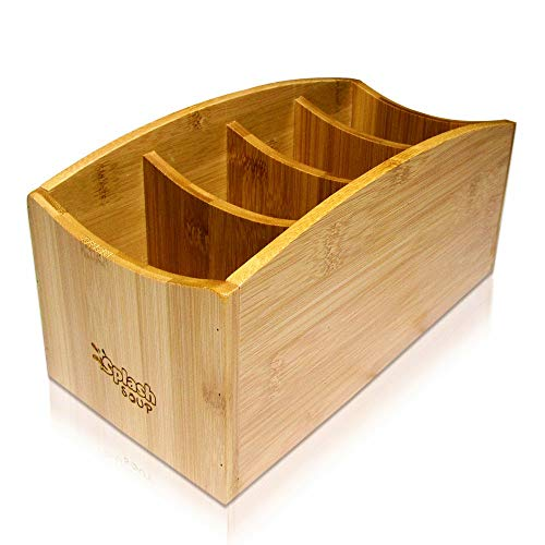 Natural Bamboo Organizer | Kitchen Counter Utensil Storage | Home Office Stationery Desk Caddy | Living Room Table Accessory Remote Holder by Splash Soup