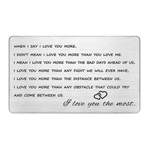 Engraved Wallet Inserts, Anniversary Gifts for Men, Metal Wallet Card Insert, Gifts for Him Boyfriend, I Love You More, Husband Gifts from Wife, Unique Gifts for Men, Valentines