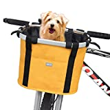 RAYMACE Bicycle Basket Dog Bike Handlebar Basket Front with Adjustable Pet Tether Folding Detachable Quick Release Easy Install
