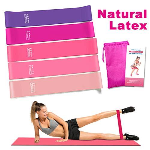 Victoper Fitness [Set di 5] Banda Elastica, Bande, 5 Livelli di Resistenza per Yoga, Pilates,...