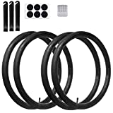 Calvana (4 Pack) 26'' x 1.75/2.125 Replacement Inner Tubes with Tire Leveler and Round Patches for Bike with 26 Inch Tires. Made of Heavy Duty, Thick Butyl Rubber.