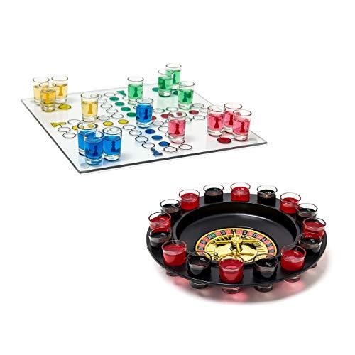 Relaxdays 2 TLG Trinkspiele Set, Drinking Ludo, Trink-Roulette, Saufspiel, Party-Spiel, Schnaps-Roulette, Erwachsene, je 16 Gläser