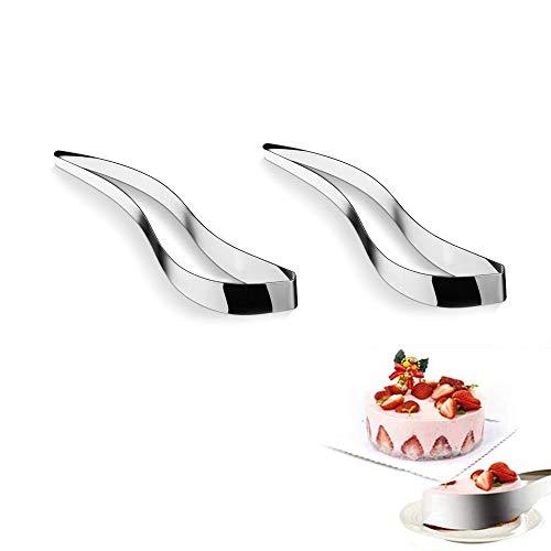 YUEMING 2 Pezzi Torta Affettatrice Coltello,Server Dolci,Taglierina Per Dolci in Acciaio Inossidabile,Affettatrice per Torta a Forma di Foglia Utensili da Cucina,Per Dessert, Pizze, Torte