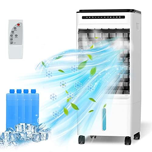 QUARED 4 in 1 Condizionatore d'Aria portatile, Raffreddatore d'Aria Air Cooler Ventilatore Evaporativo con serbatoio dell'acqua da 5 litri, 3 modalit, 3 velocit, telecomando, Timer