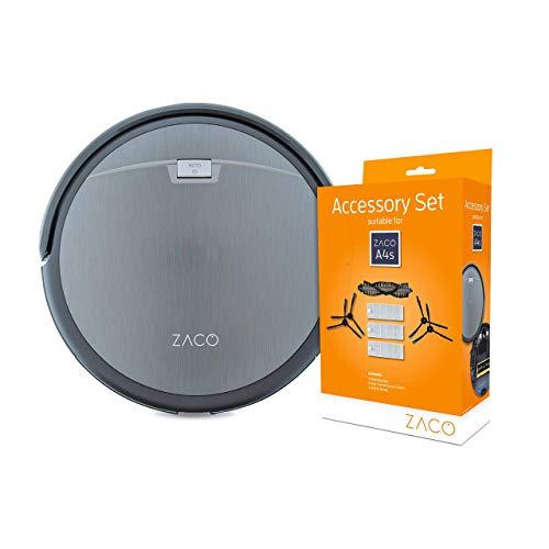 ZACO A4s Saugroboter, automatischer Staubsauger Roboter + ZACO original Zubehör-Set passend für ZACO A4s Saugroboter, inkl. Bürsten und Filter