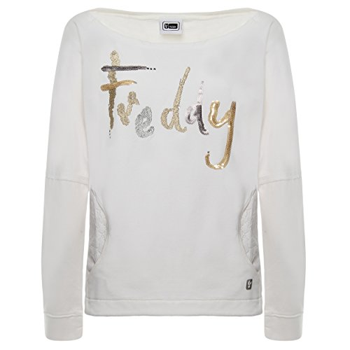 FREDDY Felpa con Inserti in Pizzo ed Applicazioni in Paillettes - Cool Dyed White - Small