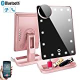 Hansong Makeup Mirror with Lights and Bluetooth,Rechargeable Vanity Mirror with 20 LED, Adjustable Brightness, Detachable 10x Magnification,Lighten Up Cosmetic Mirror(Rose Gold)
