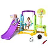 Costzon 6 in 1 Toddler Climber and Swing Set, Climber Slide Playset w/Basketball Hoop, Football Gate, Learning Panel for Indoor & Backyard, Infant Playground Yard Games (6-in-1 Slide & Swing Set)