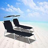 VINGO Sonnenliege 2er Set, hoch, klappbar, Gartenliege mit verstellbarem Sonnendach, aus rostfreiem Stahl, atmungsaktiv für Camping Freizeit Garten Strand,bis 110 kg belastbar, Schwarz - 2