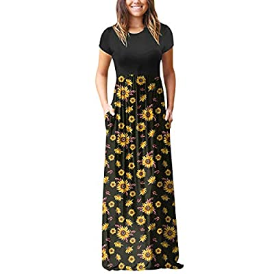 【Fashion Dress for Women Features】: Floral printed / boho style / splicing color / patchwork short sleeve maxi dress. Two side pockets, round neck, floor length, elastic at waist ♥ Short sleeve dress for women, good coverage for casual and formal, su...