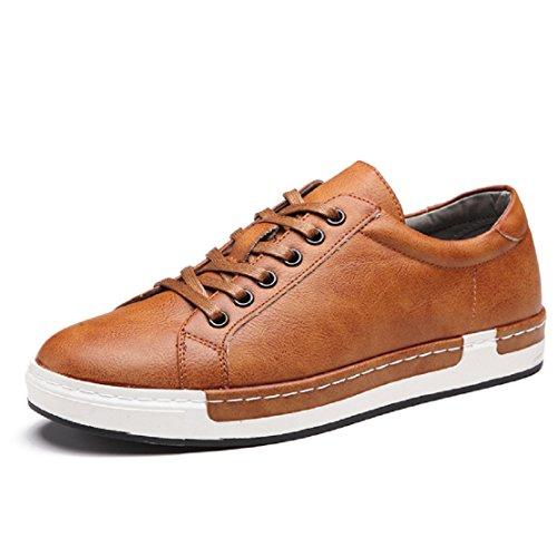 Zapatos de Cordones para Hombre Conducción Zapatillas Cuero Casual Shoes Attività Commerciale Sneakers Negro Gris Marrón Amarillo 38-48 Amarillo 42
