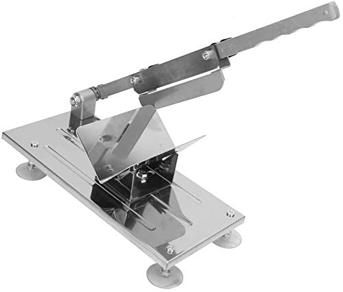 Affettatrice manuale in metallo, Affettatrice in acciaio Inox del salute e sicurezza, Lunghezza lama: 170 mm (6,7 ''), lo spessore della fetta di carne pu essere regolato: da 0,3 mm a 15 mm