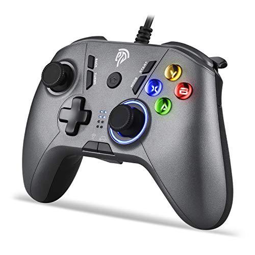 REDSTORM Kabelgebundener Game Controller für PC, Wired Gamepad mit Turbo-Funktion(Dauerfeuer) für PS3, Windows 10/8/7, Plug and Play, 5 Stufen Vibration, Einstellbare Tastenbeleuchtung