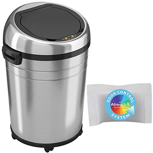 iTouchless 18 Gallon Commercial Size Touchless Sensor Trash Can with Odor Control System, 68 Liter Automatic Garbage Bin, Silver, Round Stainless Steel