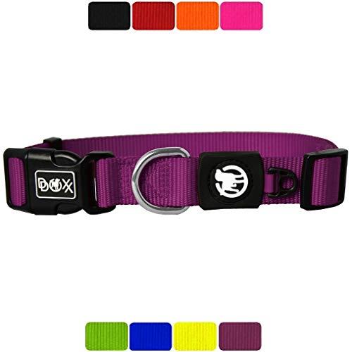 DDOXX Hundehalsband Nylon, verstellbar | viele Farben & Größen | für kleine & große Hunde | Halsband Hund Katze Welpe | Hunde-Halsbänder breit | Katzen-Halsband klein | Lila, XS