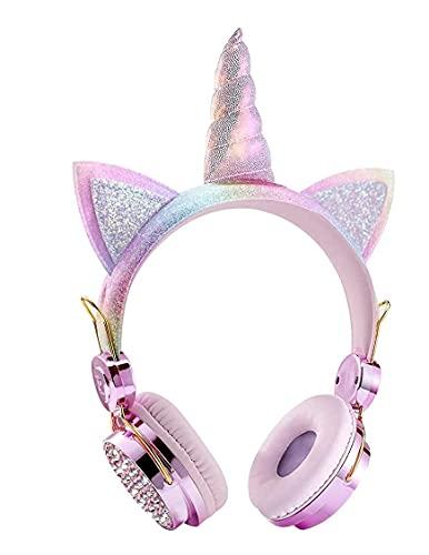 PLUGIN Unicorn Wireless Bluetooth Over the Ear Headphone with Mic (Light Pink)