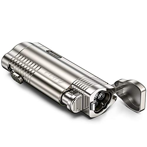 VVAY Jet Flame Mechero Gas Butano Recargable para Puro, 3 Llamas (Vendido sin Gas)