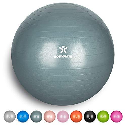 BODYMATE Gymnastikball mit GRATIS E-Book inkl. Luft-Pumpe Fitness Yoga Core
