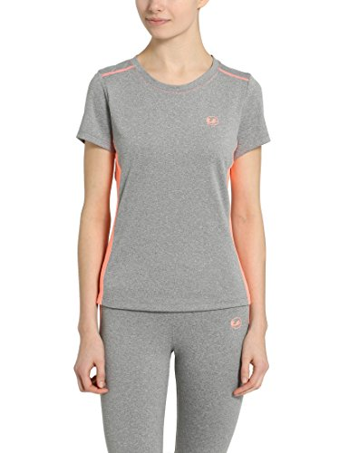 Ultrasport Damen T-shirt Fitness Sport, Grau-Melange/Coral, L