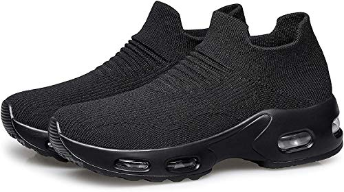 DOUSSPRT Womens Walking Shoes Slip on Sock Sneakers Lady Girls Nurse Mesh Air Cushion Platform Loafers Fashion Casual Black US Size 8.5