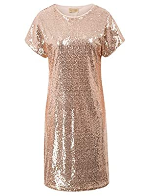 Crew neck, Short Raglan Sleeve with lace hem and straight silhouette, sexy and charming Sparkling Sequins on the Back and Front, polyester lining makes you smooth and soft wear feeling Shiny Glitter sequin shift tunic dress, loose fitted, great for a...