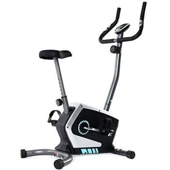ISE Vélo d'Appartement Pliable Magnétique Fitness ultra-compact, 8 Niveaux de résistance réglables, Capteurs d'impulsion et écran LCD, Vélo d'intérieur avec selle réglable en hauteur, 120 kg, SY-8801