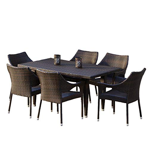 Christopher Knight Home Cliff Outdoor Dining Set, 7-Pcs Set, Multibrown