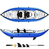 GIKPAL Inflatable Kayak Set with Paddle & Air Pump, 2-Person Portable Recreational Touring Kayak, Inflatable Boat Canoe with Adjustable High Back Seat