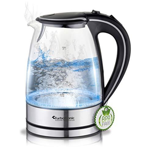 TurboTronic Glas Wasserkocher 1,7 Liter mit Kalkfilter und LED Beleuchtung, neue 2020 Version, BPA Frei, 2200 Watt