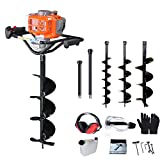 PROYAMA 51.7CC 2 Stroke Gas Post Hole Digger Earth Auger, Ground Drill with 3 bits (4', 6' and 8') + Extention EPA