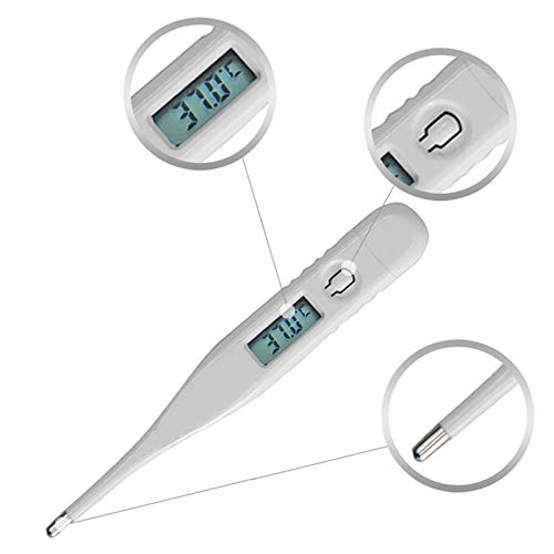 Lazapa Waterproof Digital LCD Medical Thermometer Oral Rectal Thermometer for Children Babies Adult Instant Read Thermometer Digital Cooking Thermometer (White)
