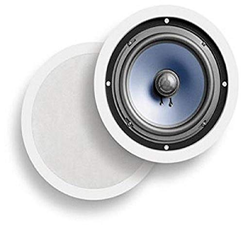 Polk Audio RC80i 2-way Premium In-Ceiling 8' Round-Speakers, Set of 2 Perfect-for Damp-and Humid Indoor/Outdoor Placement - Bath, Kitchen, Covered Porches (White, Paintable-Grille)