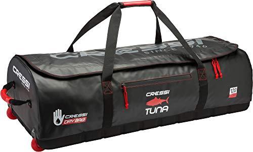Cressi Unisex-Adult Tuna Dry Wheel Bag Große wasserdichte Tasche mit Rollen, Schwarz/Rot, 120 L