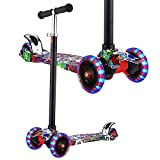 Hikole Scooter for Kids, Kick Scooters for Toddlers Girls & Boys with LED Light Up Wheels, Adjustable Height Scooter for Children from 3 to 12 Years Old