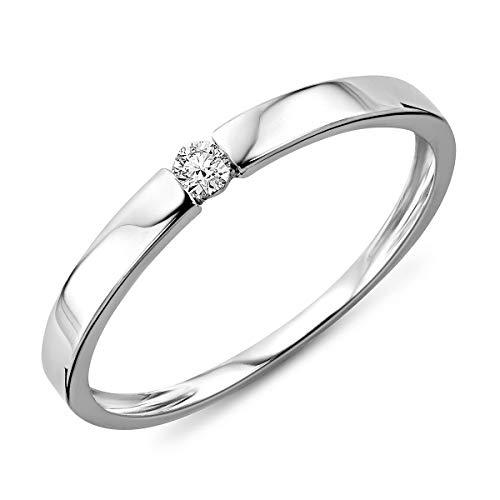 Anillo de diamante para mujer de Miore, ideal para el compromiso de 9 quilates. Oro blanco con diamante de 0,05 quilates.