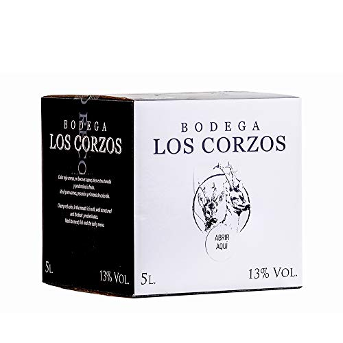 Bag in Box 5L Vino Tintos Recomendado (Equivalente a 6,5 Botellas de 750 ml) vino tinto afrutado caja de vino con grifo y asa incorporada de Bodegas Los Corzos