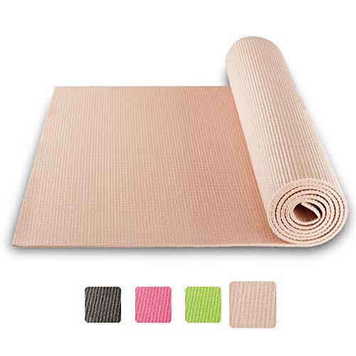 BODYMATE Yogamatte Universal Rose-Gold - Größe 183x61cm – Dicke 5mm – Schadstoffgeprüft frei von Phthalaten, BPA, Schwermetallen – Trainings-Matte für Fitness, Yoga, Pilates, Functional