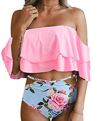 This fashion women bikini swimsuit features with removable padded push-up bra, adjustable shoulder straps, ultra stylish and adorable. Pink ruffled flounce off shoulder crop top accentuates your attractive silhouette without too revealing, makes you ...