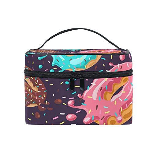 HaJie - Bolsa de maquillaje de gran capacidad con estampado de donut para viaje, portátil, neceser de almacenamiento, bolsa de lavado para mujeres y niñas