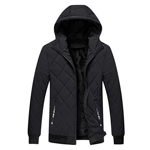 HiiWorld Rhombus Line Men's Winter Hooded Thermal Jacket Fleece Coat Man Slim Fit Warm Jackets Black
