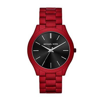 Michael Kors Men's Slim Runway Quartz Watch with Stainless Steel Strap, Red, 22 (Model: MK8712)