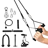 3 in 1 Pulley Cable, 1.8M Home Cable Pulley System, Fitness Pulley System,Gym Equipment for Home, with Straight Bar, Band Handles Grips, Nylon Tricep Rope, 3parts Acessories Exchange Use for Home Gym