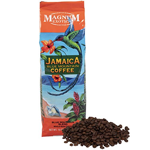 Jamaican Blue Mountain Coffee Blend, Whole Bean, 1 Lb Bag – Medium Roast, Fresh Strong Arabica Coffee – Rich And Smooth Flavor – Magnum Exotics