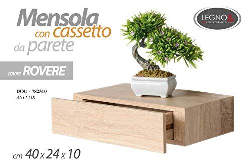 GICOS IMPORT EXPORT SRL Mensola da Parete con cassetto libreria pensile scaffale in Legno da Muro Colore Rovere 40 * 24 * 10 cm DOU-782510