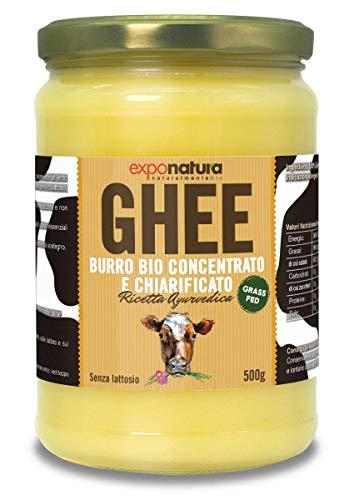 Ghee biologico 500g - burro chiarificato secondo l'antica ricetta Ayurvedica - solo da latte di mucche al pascolo - senza lattosio estremamente digeribile - Exponatura