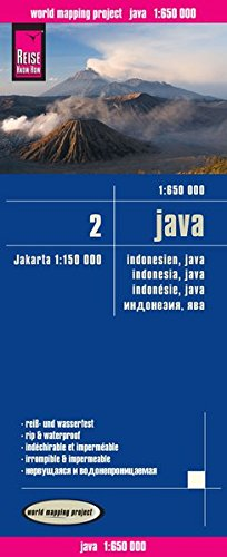 Indonesia 2: Java, mapa impermeable de carreteras. Escala 1:650.000 impermeable. Reise Know-How.: In