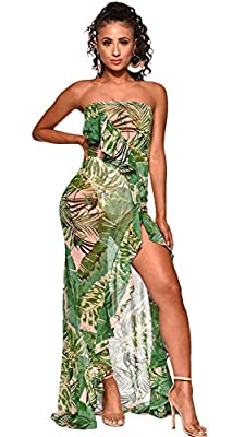 Material: This floral leaf printed ruffle beach long maxi dress is made of polyester mesh fabric. Women elegant casual low cut boat neck sleeveless tanks tie dye print flounce pleated high split pencil cocktail dresses beach coverups long swing dress...