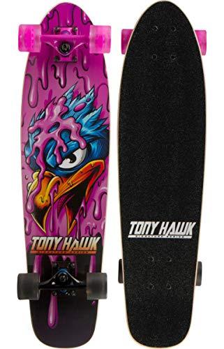 Sakar Tony Hawk 31' Complete Cruiser Skateboard , 9-ply Maple Desk Skate Board for Cruising, Carving, Tricks and Downhill, Pink Hawk (ACTBOD-124TH-PHK)